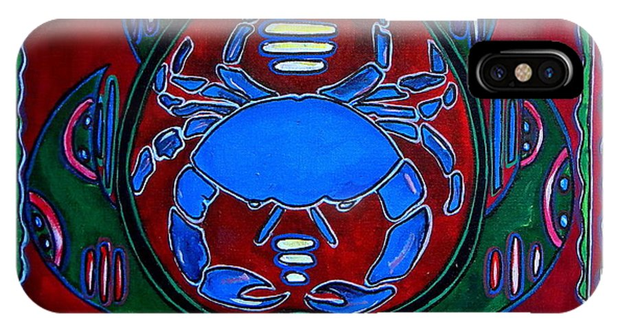 Crab IPhone X Case featuring the painting Crab Turtle Mola by Patti Schermerhorn