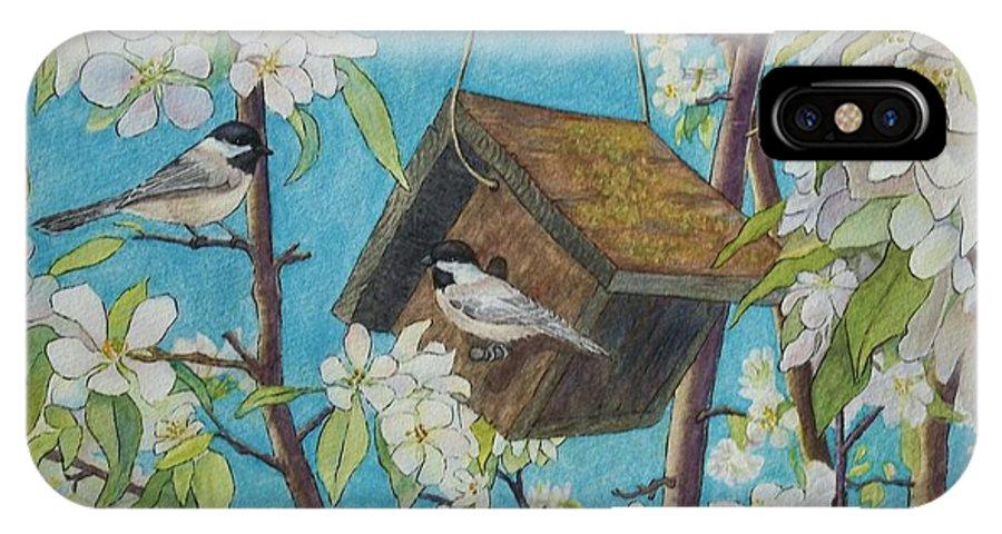 Dparins IPhone X Case featuring the painting Crabapple Chickadees by DParins Zich