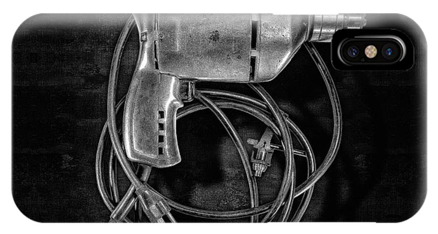 Antique IPhone X Case featuring the photograph Craftsman Drill Motor Bs Bw by YoPedro
