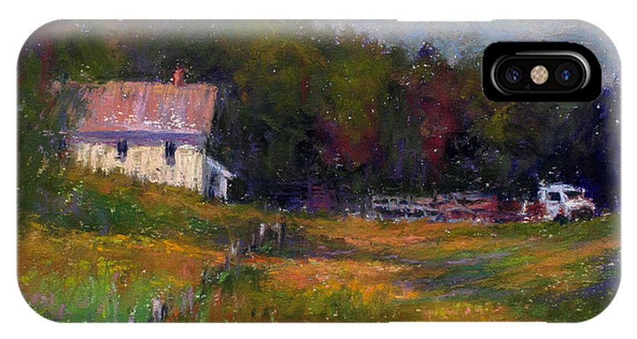 Landscape IPhone X Case featuring the painting Crammond Farm by Susan Williamson