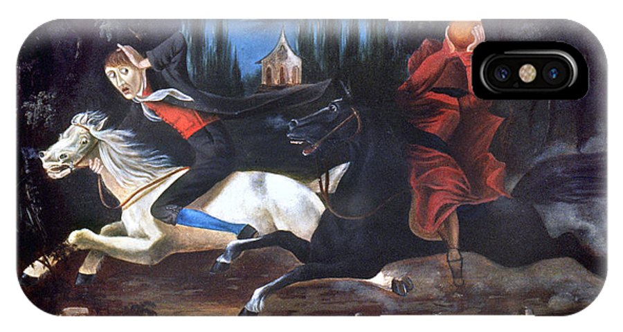 1835 IPhone X Case featuring the photograph Crane And Horseman by Granger