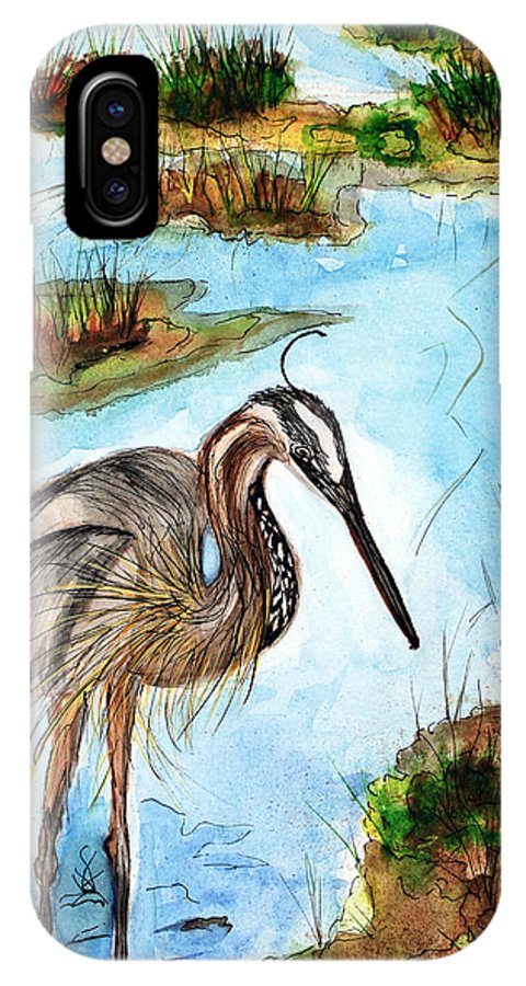 Birds IPhone Case featuring the painting Crane In Florida Swamp by Margaret Fortunato