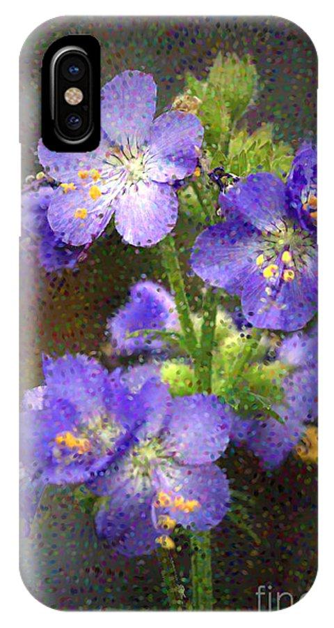 Flowers IPhone X / XS Case featuring the photograph Craquelure On Blue by Deborah Benoit