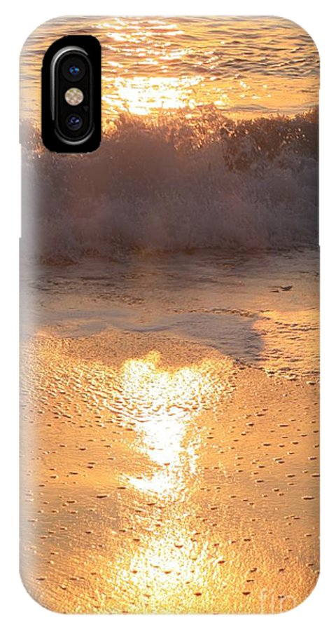Waves IPhone X Case featuring the photograph Crashing Wave At Sunrise by Nadine Rippelmeyer