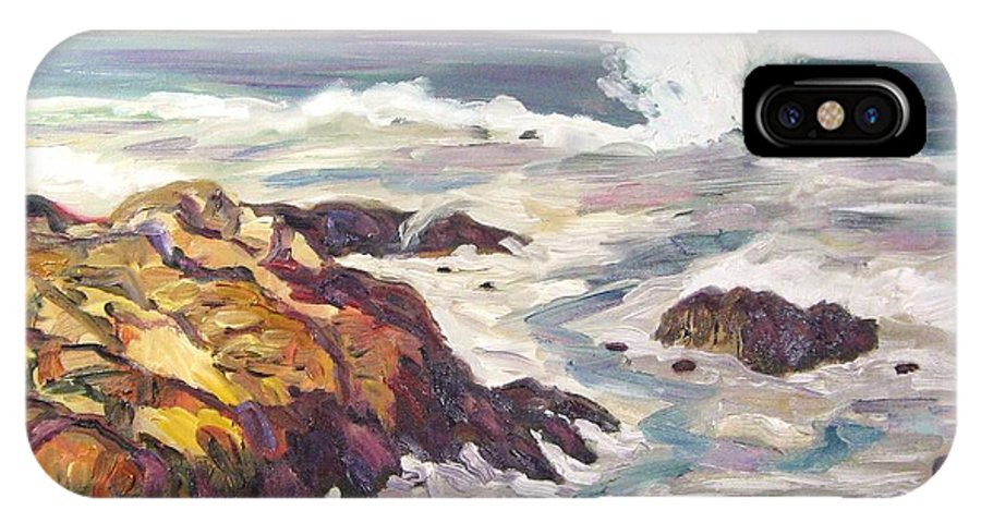 Water IPhone X Case featuring the painting Crashing Wave On Maine Coast by Richard Nowak