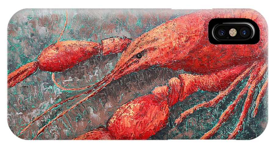 Animal IPhone X Case featuring the painting Crawfish by Todd Blanchard