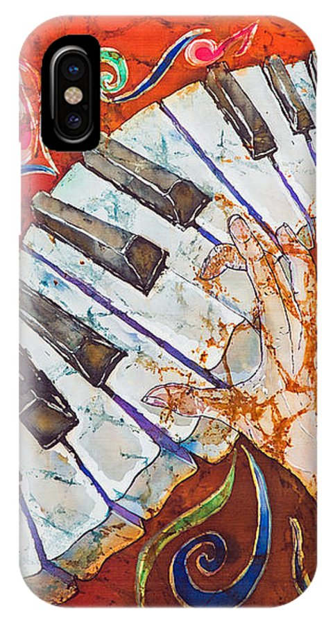 Piano IPhone Case featuring the tapestry - textile Crazy Fingers - Piano Keyboard by Sue Duda