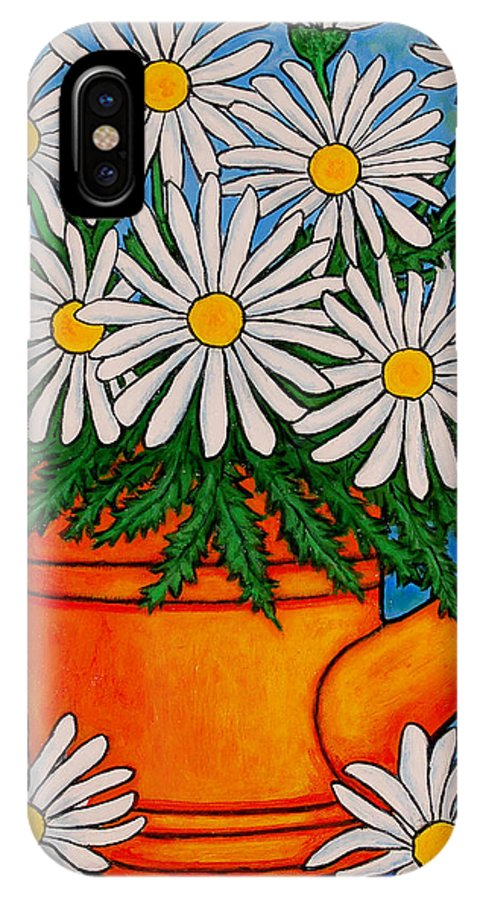Daisies IPhone X Case featuring the painting Crazy For Daisies by Lisa Lorenz