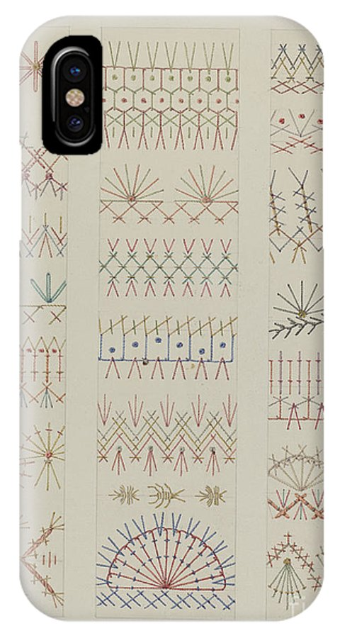 IPhone X Case featuring the drawing Crazy Quilt by William Kieckhofel