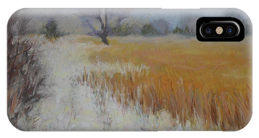 Landscape: Snowy View Of Farmers Field Under An Overcast Gray Sky IPhone X Case featuring the painting Cream Of Wheat by Julie Mayser