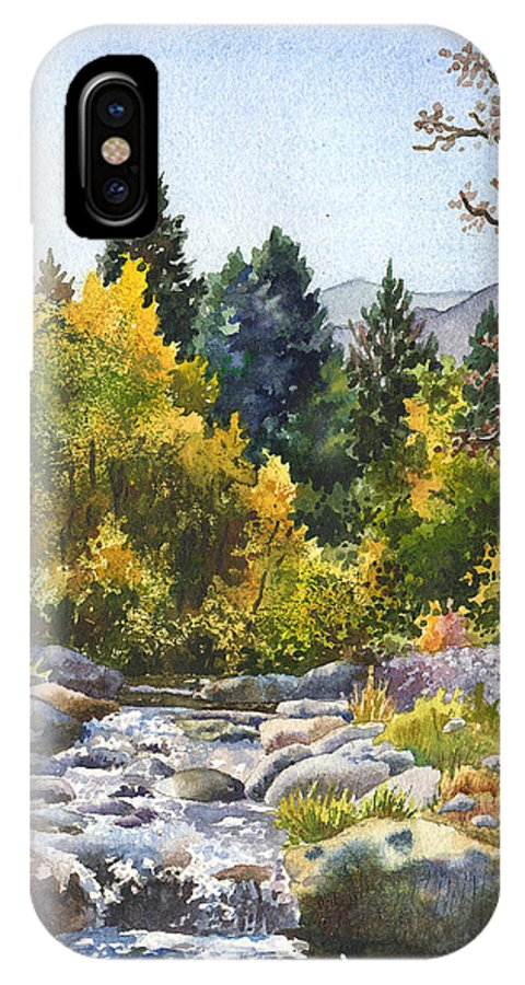 Rocky Mountain Painting IPhone X Case featuring the painting Creek At Caribou by Anne Gifford