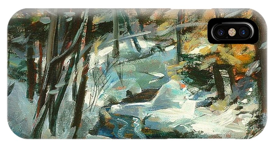White IPhone X Case featuring the painting Creek In The Cold by Claire Gagnon