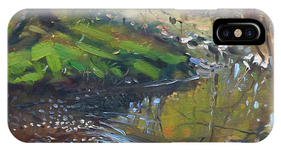 Lanscape IPhone X Case featuring the painting Creek In The Woods by Ylli Haruni