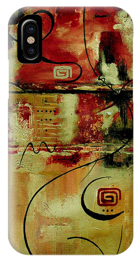 Abstract IPhone X Case featuring the painting Crimson And Copper by Ruth Palmer