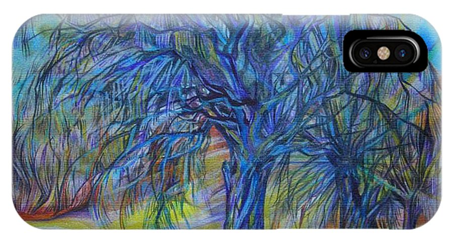 Blue IPhone X Case featuring the drawing Crystal Light by Anna Duyunova