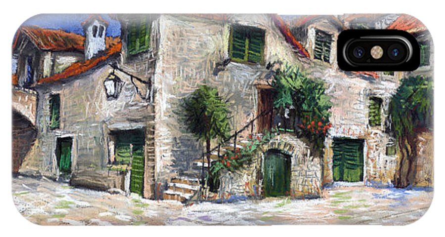 Pastel On Paper IPhone X Case featuring the painting Croatia Dalmacia Square by Yuriy Shevchuk
