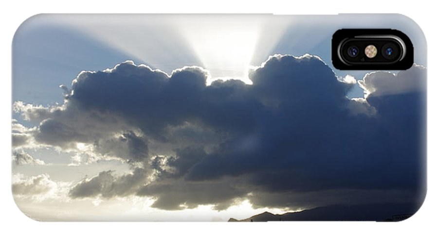 Afternoon IPhone X Case featuring the painting Crocodile Clouds Sunrays And Mt Bartle Frere Fnq by Kerryn Madsen-Pietsch
