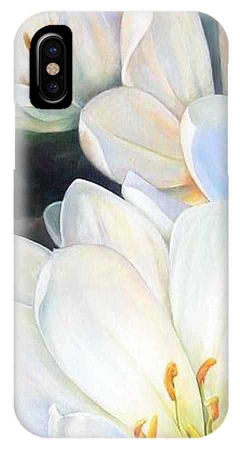Floral Painting IPhone X Case featuring the painting Crocus by Muriel Dolemieux