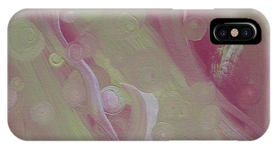 Abstract IPhone X Case featuring the painting Crop Circles In Pink And Green by Martha Thompson
