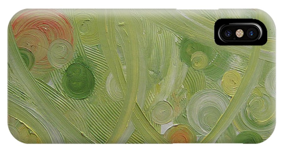 Abstract IPhone X Case featuring the painting Crop Circles Yellow Analog 2 by Martha Thompson