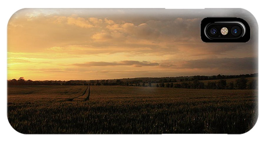 Landscape IPhone X Case featuring the photograph Crops At Sunset by Martina Fagan