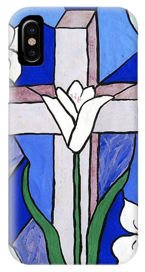Easter IPhone X Case featuring the painting Cross and Lilies by Peggy King