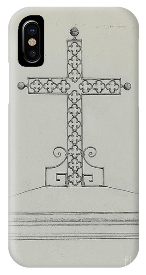 IPhone X Case featuring the drawing Cross by Arelia Arbo