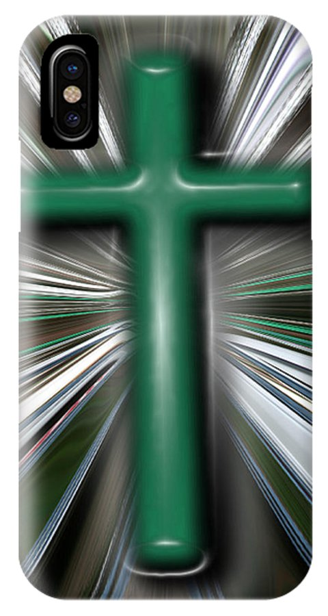 Abstract IPhone X Case featuring the digital art Cross Blast by Joshua Sunday