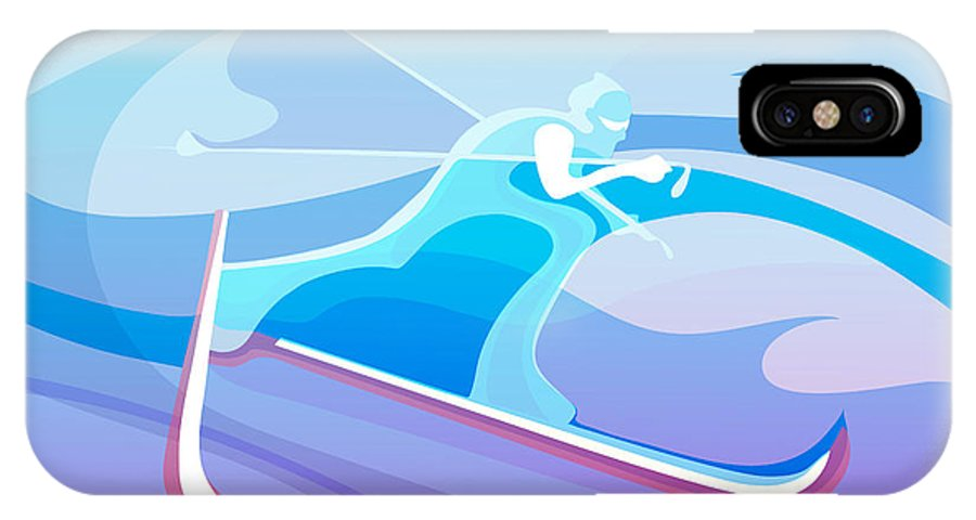 Skiing IPhone X Case featuring the painting Cross County Skier Abstract by Sassan Filsoof