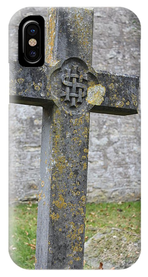 Cross IPhone X Case featuring the photograph Cross Tombstone St. Mary's Wedmore by Lauri Novak