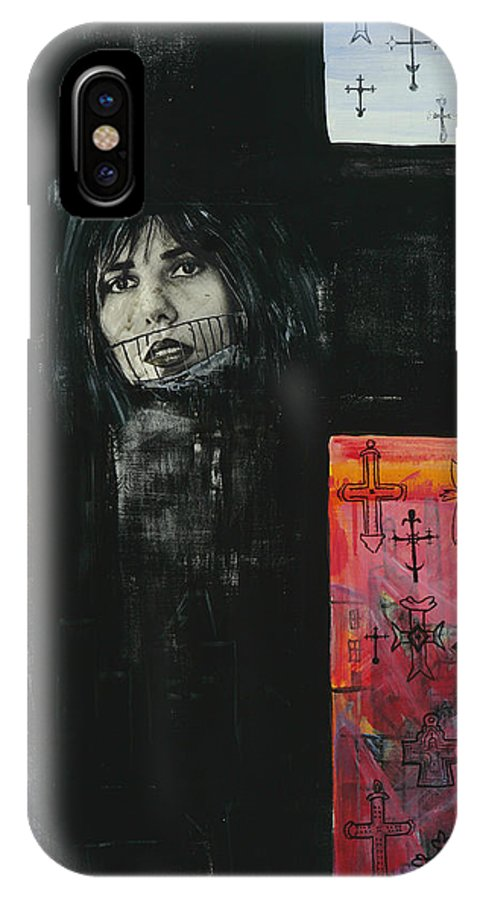 Cross IPhone X Case featuring the painting Crossroad by Yelena Tylkina