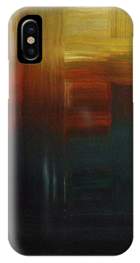 Abstract IPhone X Case featuring the painting Crossroads by Todd Hoover