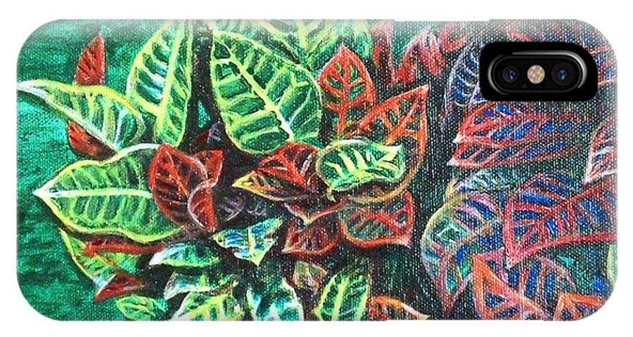 Crotons IPhone X Case featuring the painting Crotons 3 by Usha Shantharam