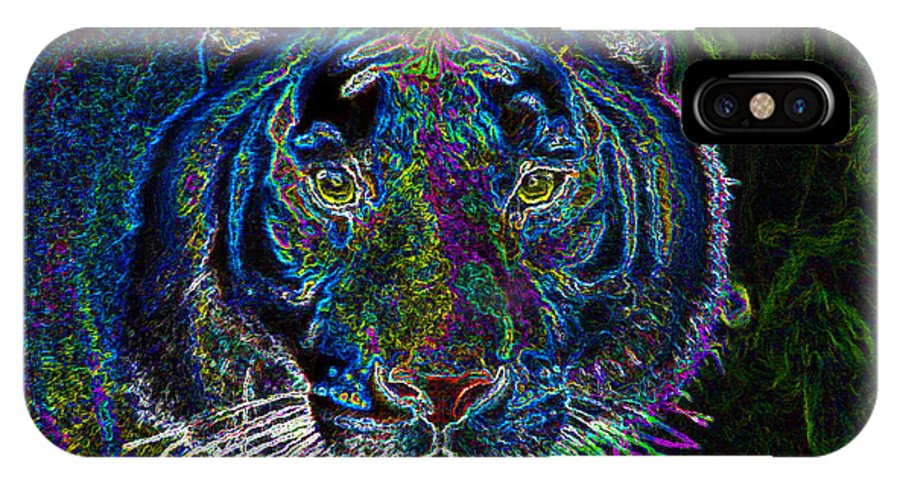 Art IPhone X Case featuring the painting Crouching Tiger by David Lee Thompson