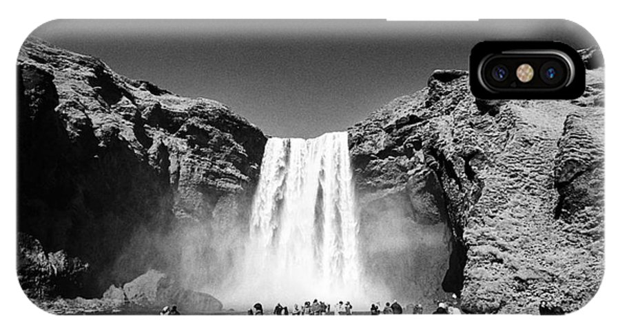 Skogafoss IPhone X / XS Case featuring the photograph Crowds Of Tourists At Skogafoss Waterfall In Iceland by Joe Fox