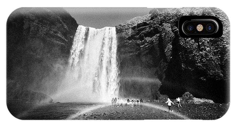 Skogafoss IPhone X / XS Case featuring the photograph Crowds Of Tourists With Double Rainbow At Skogafoss Waterfall In Iceland by Joe Fox