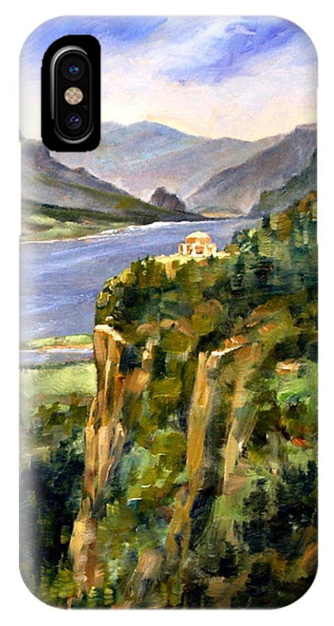 16 X 12 IPhone X / XS Case featuring the painting Crown Point Oregon by Jim Gola
