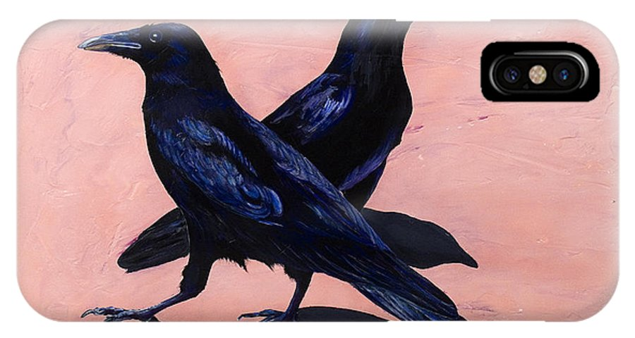 Crows IPhone X Case featuring the painting Crows by Sandi Baker