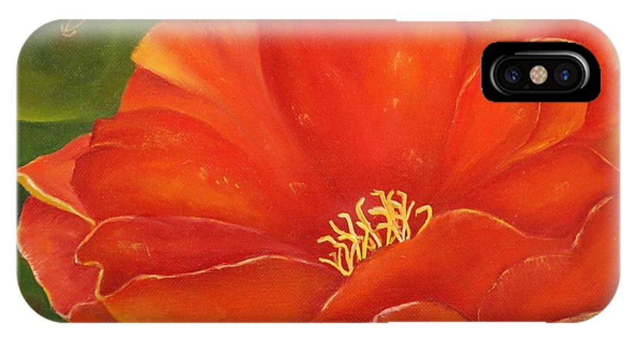 Cactus IPhone Case featuring the painting Cruces Bloom by Teresa Lynn Johnson