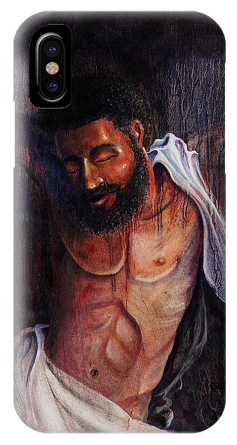 Christian IPhone X Case featuring the painting Crucifixion by Lewis Bowman