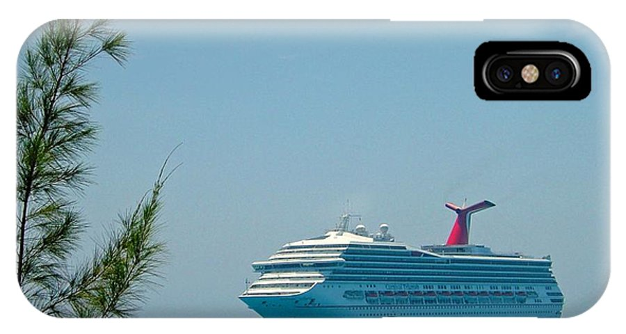 Carnival Cruise Line IPhone X Case featuring the photograph Cruise Ship At Half Moon Cay by Gary Wonning