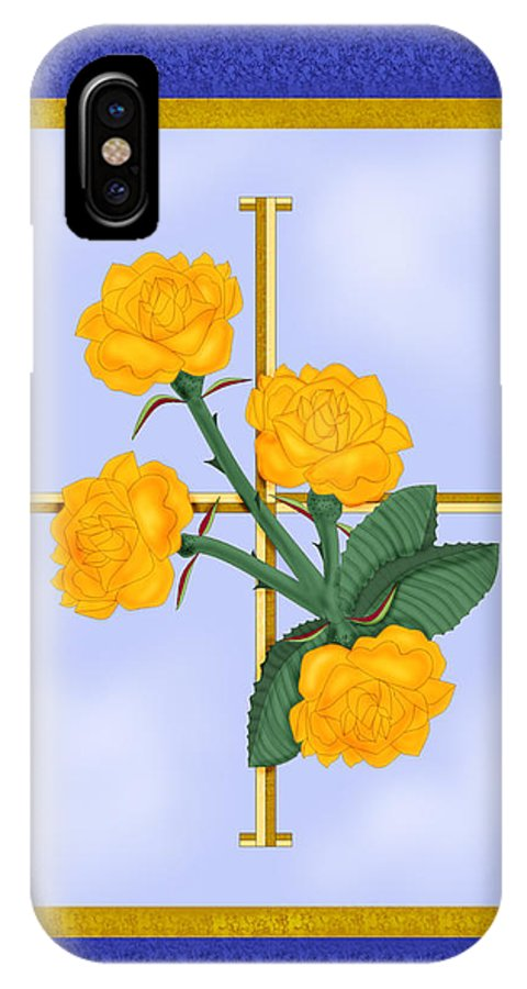 Golden Roses IPhone X Case featuring the painting Crusader Cross And Four Gospel Roses by Anne Norskog