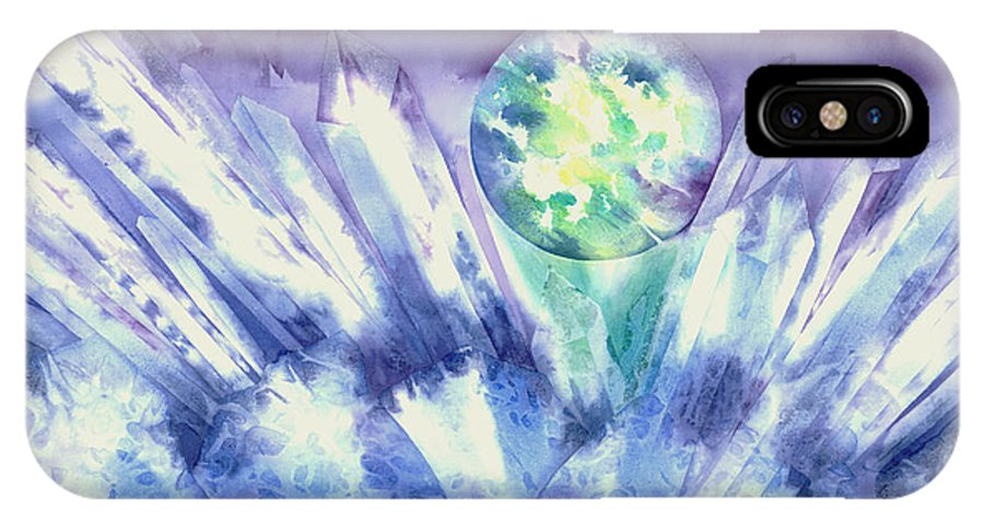 Crystal IPhone X Case featuring the painting Crystal Awakening by Tara Moorman