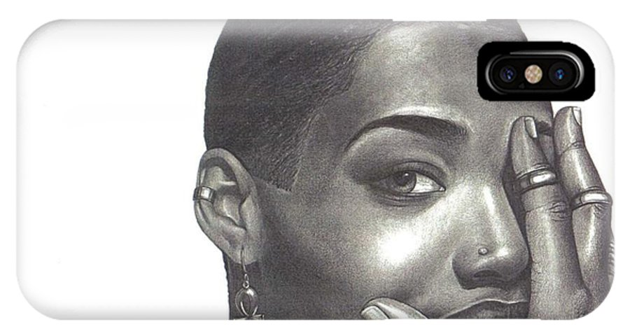 Woman IPhone Case featuring the drawing Crystal Blaque by Charlene Cooper