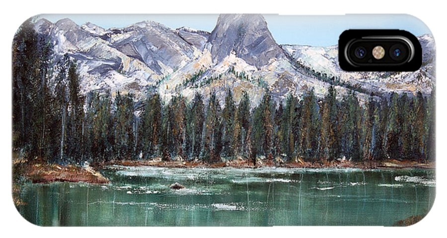 Mountain IPhone X Case featuring the painting Crystal Crag From Twin Lakes Mammoth Ca by Arline Wagner