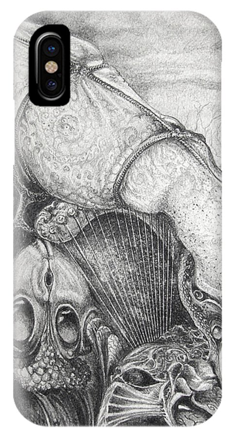 Surrealism IPhone Case featuring the drawing Ctulhu Seedpods by Otto Rapp