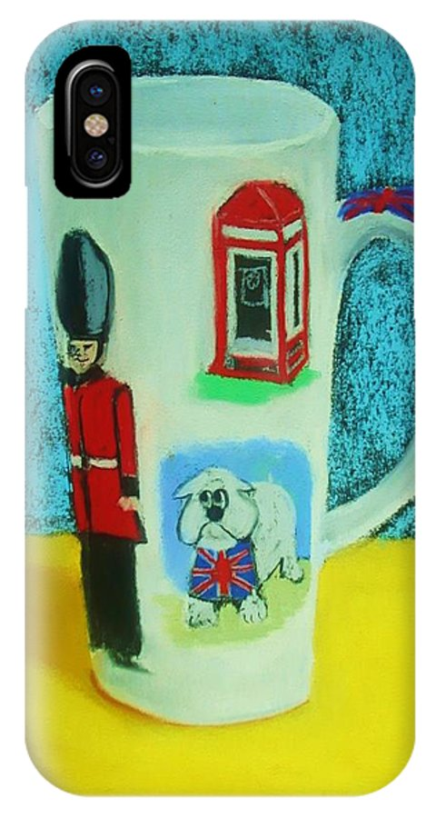 Coffee Cup IPhone X Case featuring the painting Cup Of London Java by Melinda Etzold