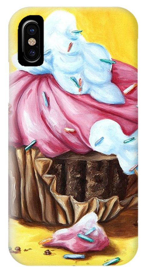 Cupcake IPhone X Case featuring the painting Cupcake by Maryn Crawford
