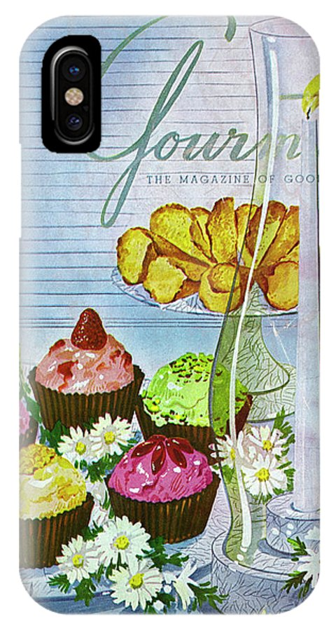 Illustration IPhone X Case featuring the photograph Cupcakes And Gaufrettes Beside A Candle by Henry Stahlhut
