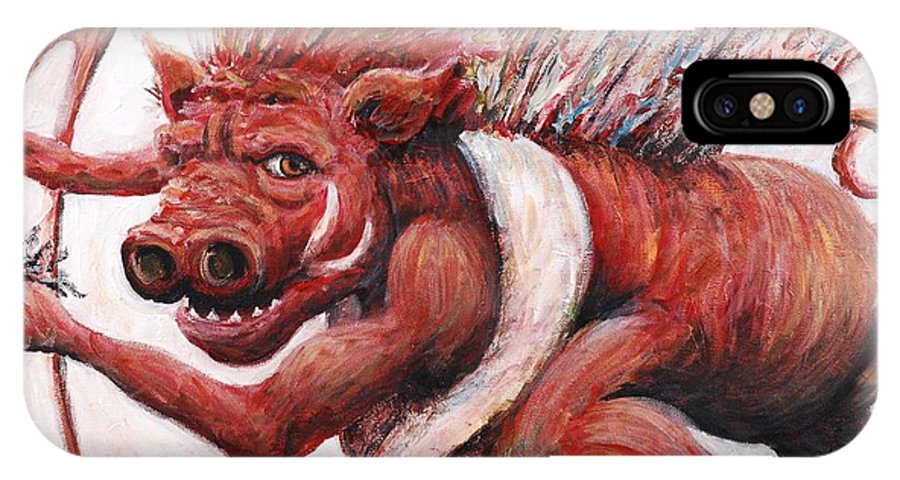 Pig IPhone X Case featuring the painting Cupig by Nadine Rippelmeyer